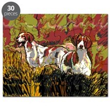 Brittany spaniels in the field Puzzle