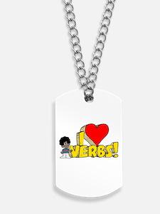 I Heart Verbs - Schoolhouse R Dog Tags