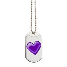 Purple Jelly Heart Dog Tags