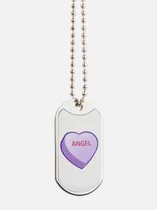 Angel Candy Heart Dog Tags