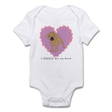 "A Puggle has my heart ""cartoo Infant Bodysuit"