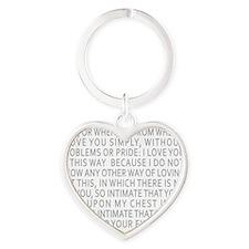 Neruda Quote- Blue Gray Heart Keychain