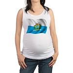 Wavy San Marino Flag Maternity Tank Top