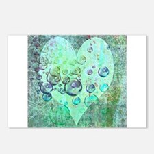 bubbles green heart Postcards (Package of 8)