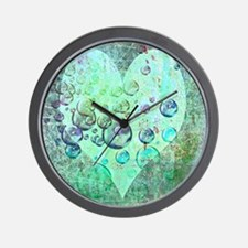 bubbles green heart Wall Clock
