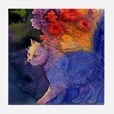 Garden Cat Summer Sunlight Watercolor Tile Coaster