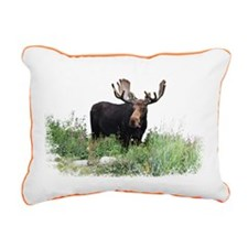 Moose Eating Flowers Rectangular Canvas Pillow