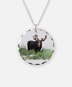 Moose Eating Flowers Necklace