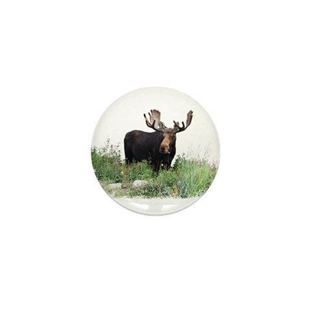 Moose Eating Flowers Mini Button (10 pack)