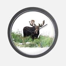 Moose Eating Flowers Wall Clock