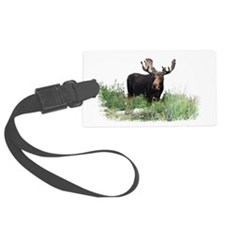 Moose Eating Flowers Luggage Tag