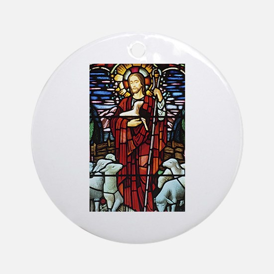 Jesus and Lambs Stained Glass Ornament (Round)