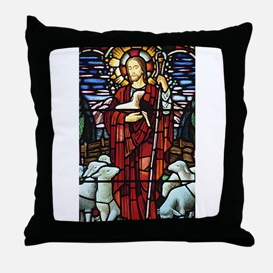 Jesus and Lambs Stained Glass Throw Pillow