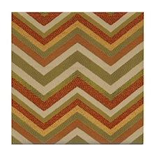Burnt Orange Burlap Zigzags Tile Coaster