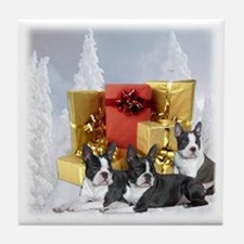 Boston Terrier Christmas Tile Coaster