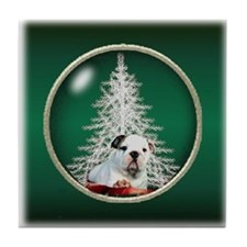 Bulldog Christmas Tile Coaster