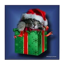 Kitten in a Present Tile Coaster