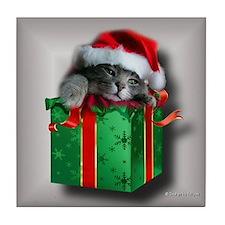 Santa Kitten Tile Coaster