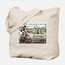 1963 Monaco Racing Cyclist Postage Stamp Tote Bag