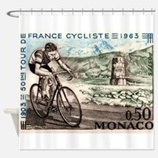 1963 Monaco Racing Cyclist Postage Stamp Shower Cu