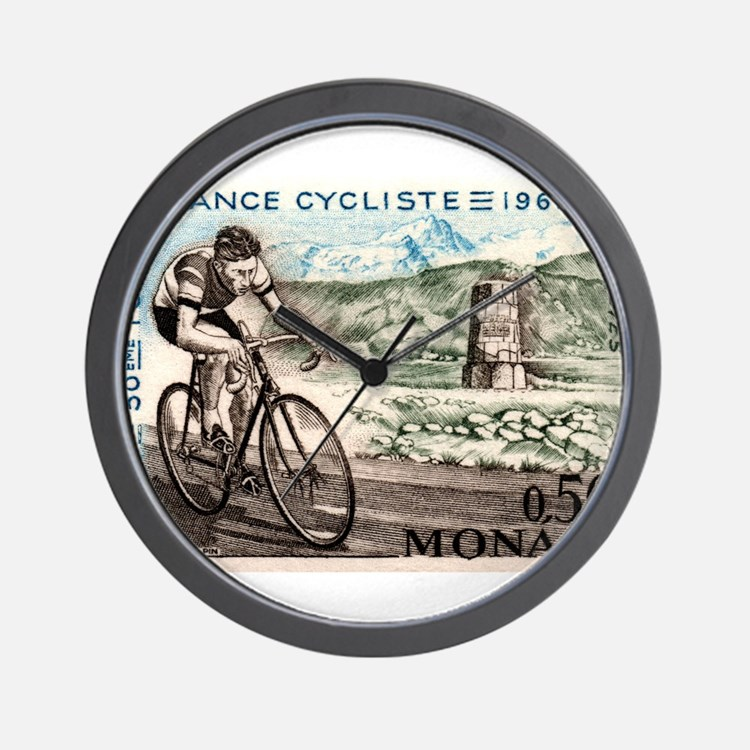 1963 Monaco Racing Cyclist Postage Stamp Wall Cloc