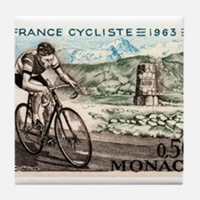 1963 Monaco Racing Cyclist Postage Stamp Tile Coas