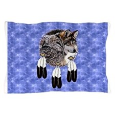 Eagle Feathers Wolf Pillow Case