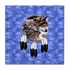 Eagle Feathers Wolf Tile Coaster