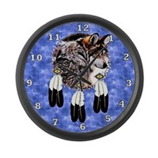 Eagle Feathers Wolf Large Wall Clock