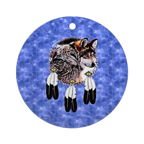 Eagle Feathers Wolf Ornament (Round)