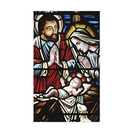 Holy Family Stained Glass Rectangle Sticker