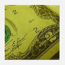 U.S. Two Dollar Bill Art Tile Coaster