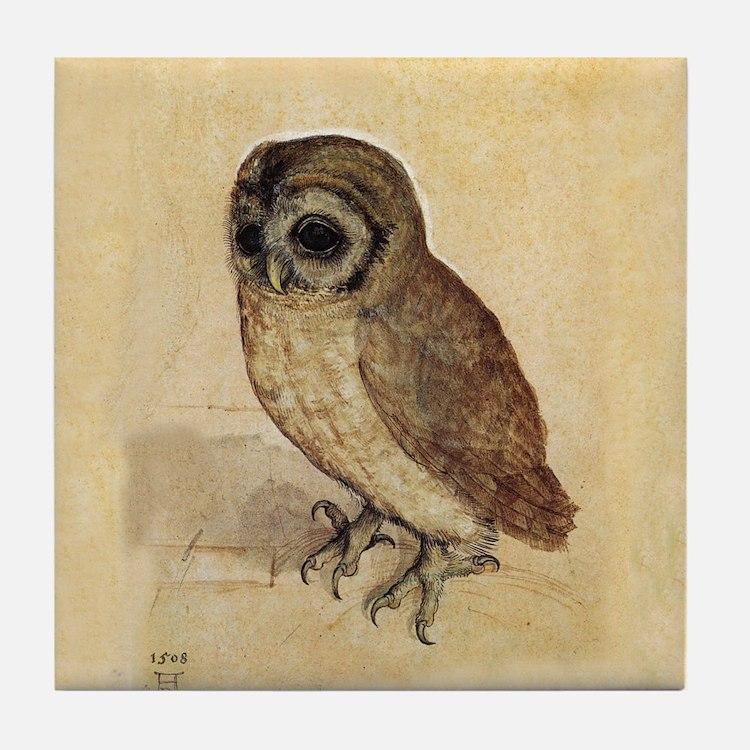 Owl by Durer Tile Coaster