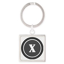 Gray X Square Keychain