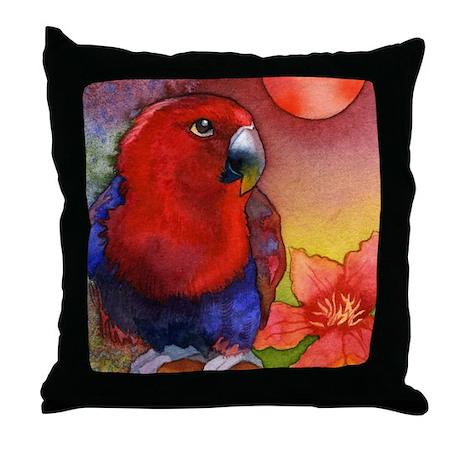 Red Eclectus Parrot Decorative Throw Pillow