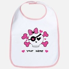 Personalized Valentine Girls Skull Bib