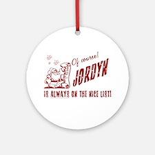 Nice List Jordyn Christmas Ornament (Round)