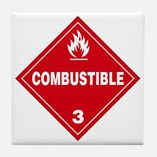 Red Combustible Warning Sign Tile Coaster
