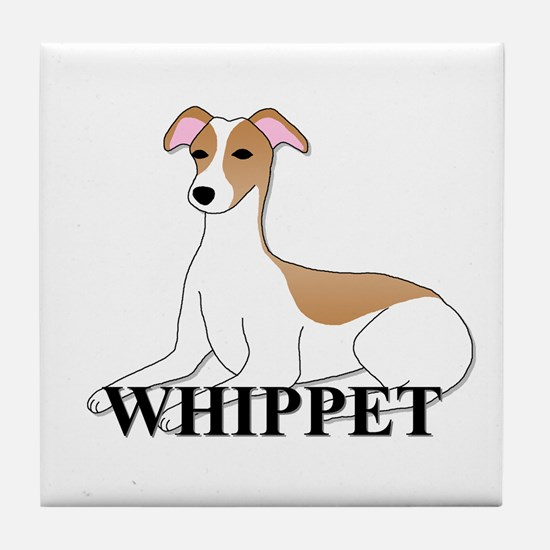 Cartoon Whippet Tile Coaster