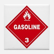 Gasoline Red Warning Sign Tile Coaster