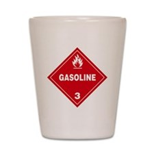 Gasoline Red Warning Sign Shot Glass