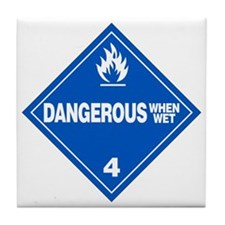 Blue Dangerous When Wet Warning Sign Tile Coaster
