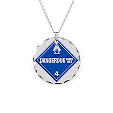 Blue Dangerous When Wet Warn Necklace
