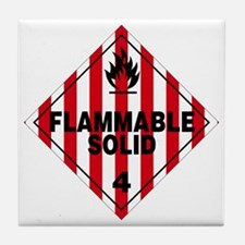 Flammable Solid Warning Sign Tile Coaster