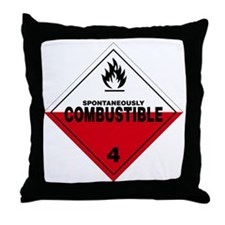 Spontaneously Combustible Warning Sig Throw Pillow