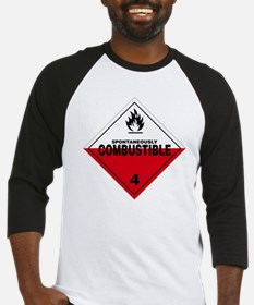 Spontaneously Combustible Warning  Baseball Jersey