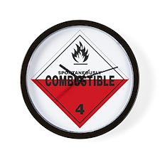Spontaneously Combustible Warning Sign Wall Clock