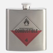 Spontaneously Combustible Warning Sign Flask