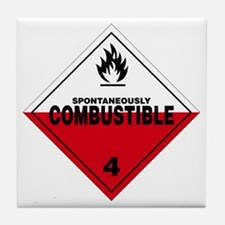 Spontaneously Combustible Warning Sig Tile Coaster