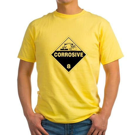Corrosive Danger Warning Sign Yellow T-Shirt